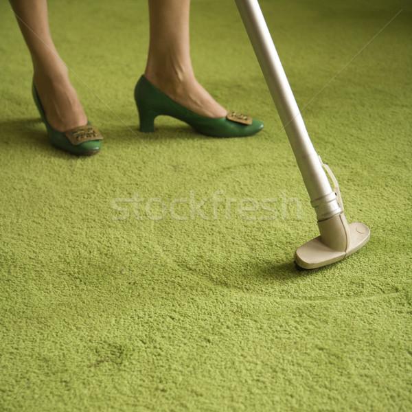 Femme nettoyage maison Homme Photo stock © iofoto