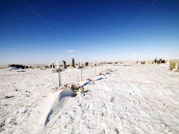 Snow covered graveyard. Stock photo © iofoto