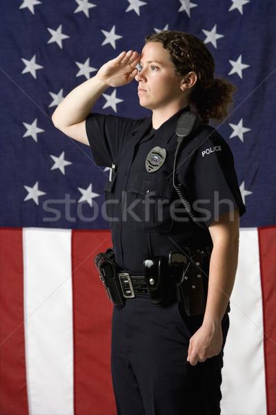 Zdjęcia stock: Policjantka · portret · dorosły · amerykańską · flagę · kobiet