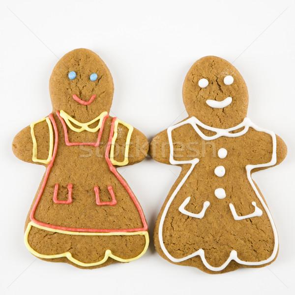 Photo stock: Pain · d'épice · couple · deux · Homme · cookies · mains · tenant
