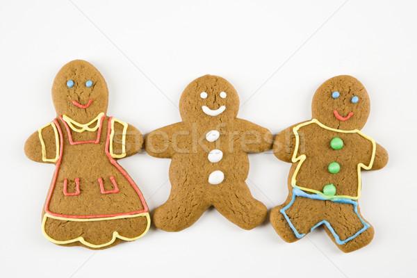 Foto d'archivio: Pan · di · zenzero · amici · tre · maschio · femminile · cookies