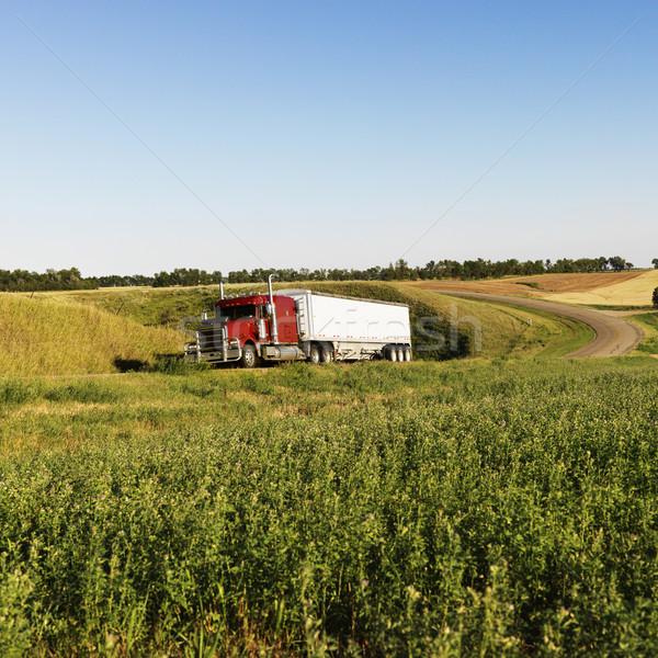 Semi truck on rural road. Stock photo © iofoto