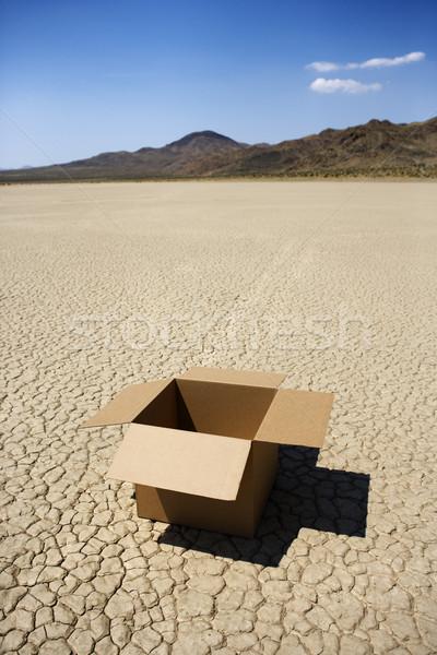 Empty box in desert. Stock photo © iofoto