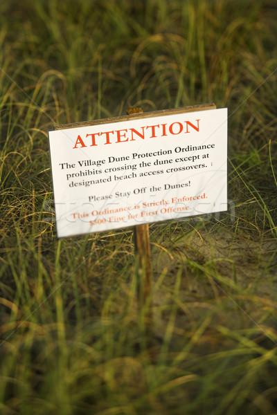 Beach stay off dunes warning sign. Stock photo © iofoto