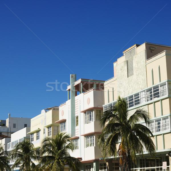 Art deco kerület Miami pálmafák épületek Florida Stock fotó © iofoto