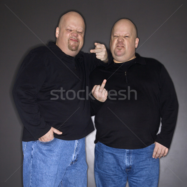 Iker férfiak gesztikulál kaukázusi kopasz felnőtt Stock fotó © iofoto