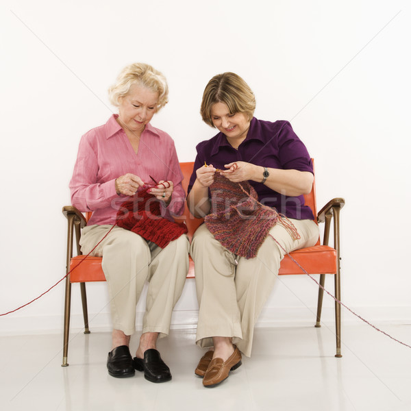 Two women knitting. Stock photo © iofoto