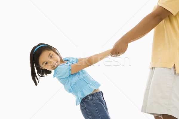 девушки рук азиатских откинувшись ребенка Сток-фото © iofoto