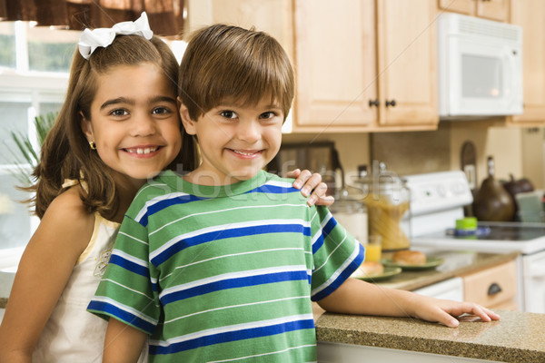 счастливым брат сестра Hispanic детей кухне Сток-фото © iofoto