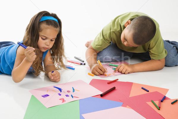 Hispanic мальчика девушки молодые строительство бумаги Сток-фото © iofoto