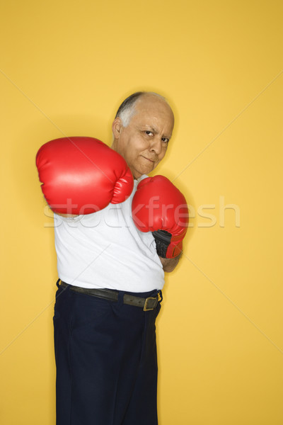 érett férfi boxkesztyűk kaukázusi középkorú felnőtt férfi visel Stock fotó © iofoto