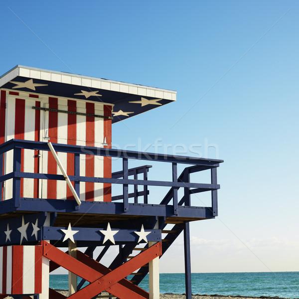 спасатель башни пляж окрашенный красный белый Сток-фото © iofoto