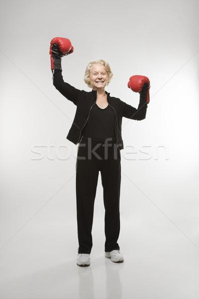 женщину бокса кавказский старший боксерские перчатки Сток-фото © iofoto