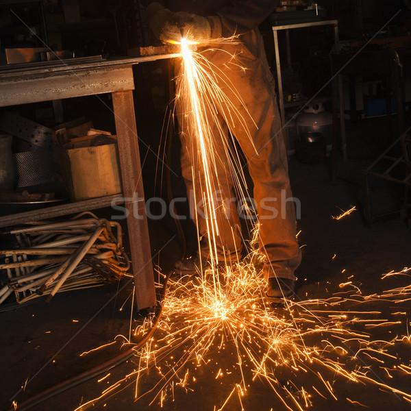 Uçan sparks Metal sanayi iş sıcak Stok fotoğraf © iofoto
