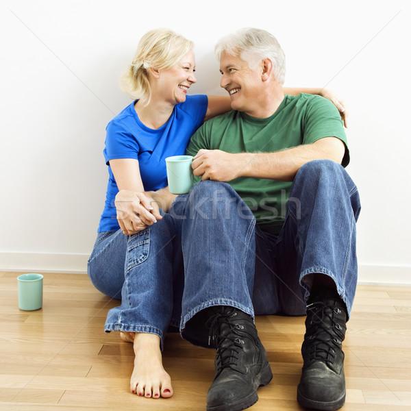 пару кофе сидят полу Сток-фото © iofoto