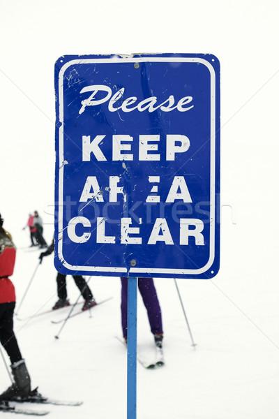 Stock photo: Ski caution sign.
