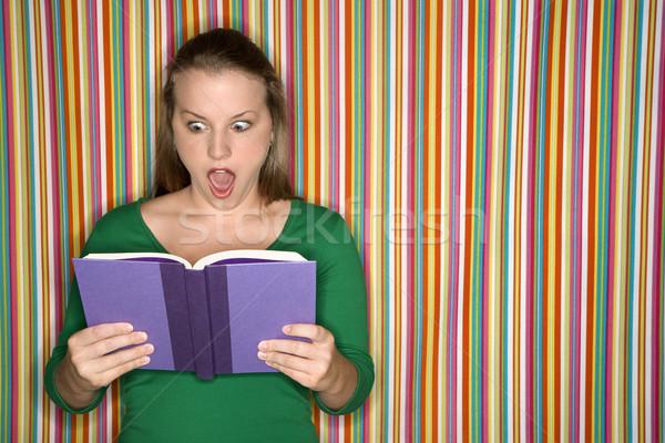 Donna lettura libro giovani femminile Foto d'archivio © iofoto