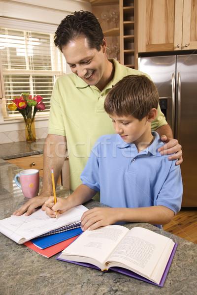 Zdjęcia stock: Ojciec · pomoc · syn · praca · domowa · człowiek · młody · chłopak