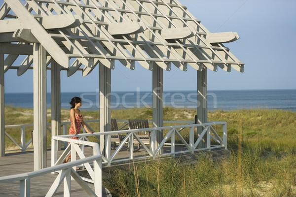Woman On Arbor Looking at Sea Stock photo © iofoto