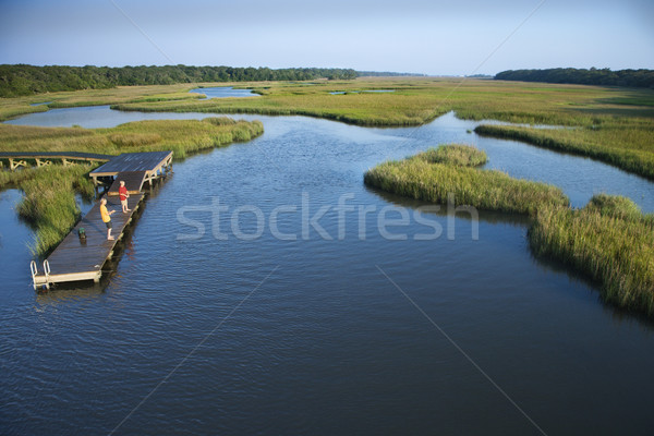 Boys on dock in marsh. Stock photo © iofoto