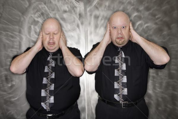 Iker férfiak fülek kaukázusi kopasz felnőtt Stock fotó © iofoto