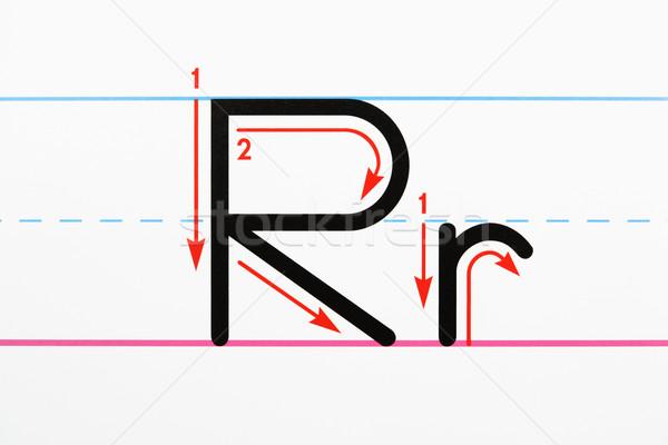 écriture pratique lettre r page papier Photo stock © iofoto