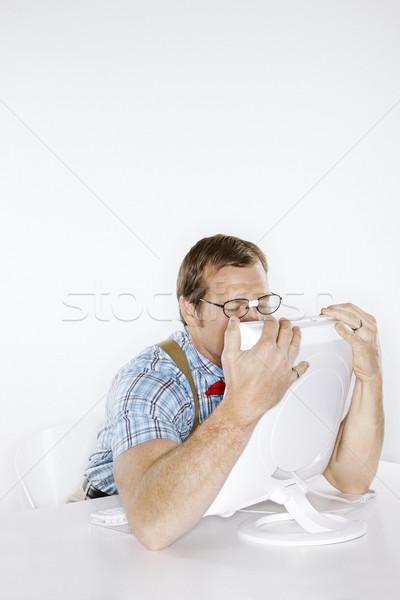 Człowiek komputera młody człowiek jak Zdjęcia stock © iofoto