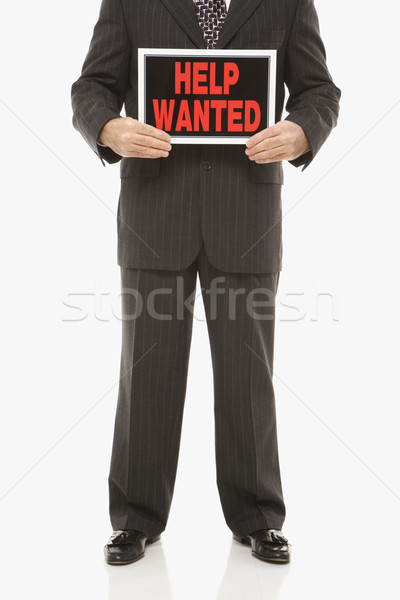 Man with help wanted sign. Stock photo © iofoto