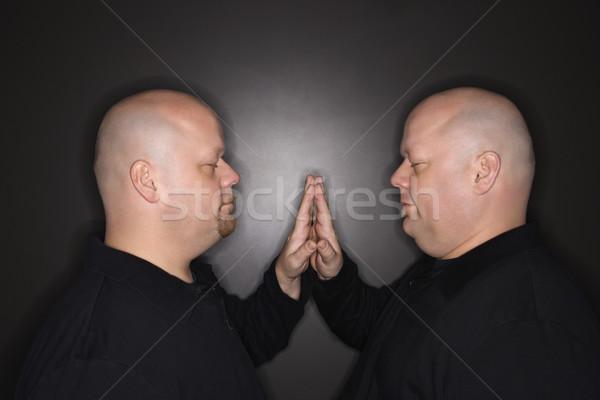 Iker férfiak testvérek kaukázusi kopasz felnőtt Stock fotó © iofoto