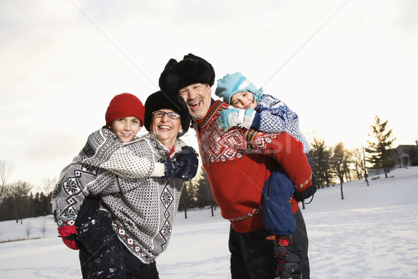 Family piggybacking. Stock photo © iofoto