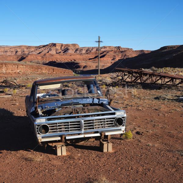 Junk car in desert. Stock photo © iofoto