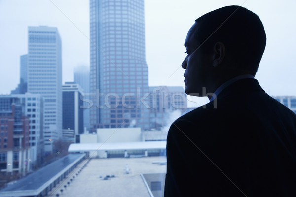 Stock photo: Businessman Looking Through a Window