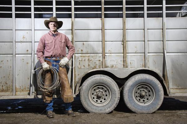 Man Wearing Cowboy Hat Holding Lariat Stock photo © iofoto