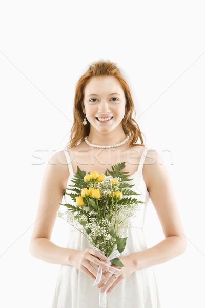 Сток-фото: невеста · букет · портрет · кавказский · цветы