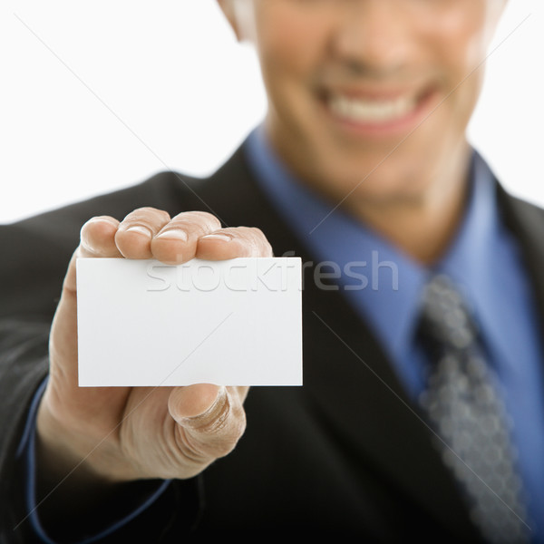 Man holding business card. Stock photo © iofoto