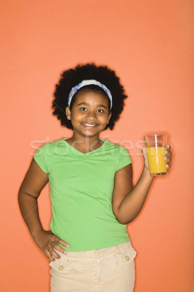 Girl with juice. Stock photo © iofoto