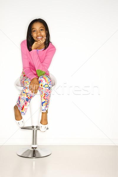 Stock fotó: Lány · portré · tinilány · ül · zsámoly · néz