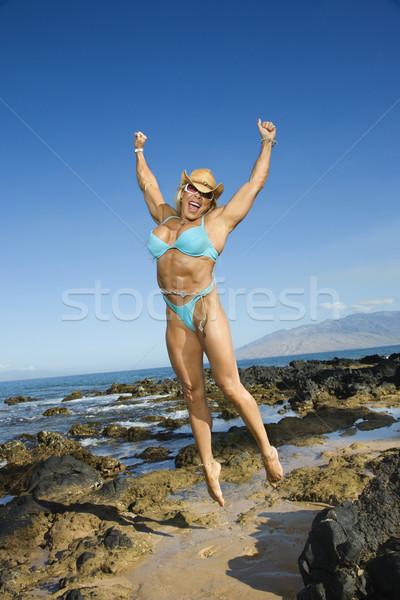 女性 ボディービルダー ジャンプ かなり 白人 成人 ストックフォト © iofoto