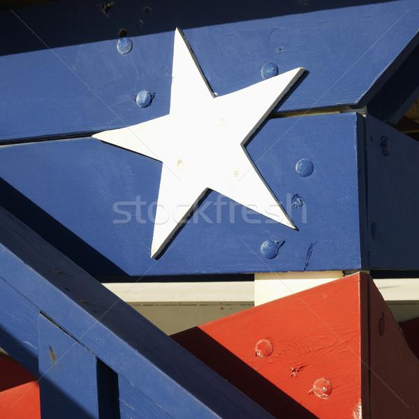 Czerwony biały niebieski ratownik wieża Zdjęcia stock © iofoto