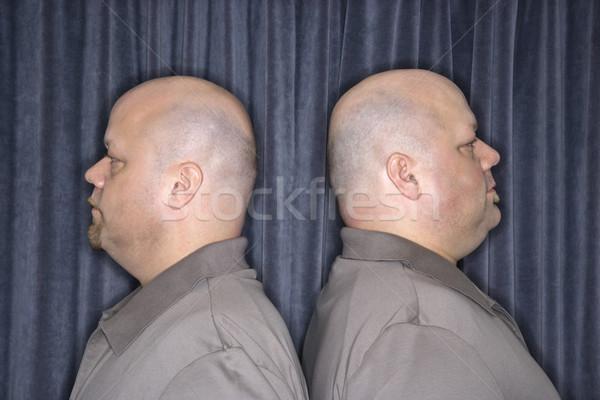 Aynı ikiz erkekler profil kafkas kel Stok fotoğraf © iofoto