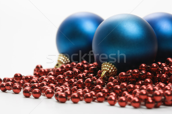Stockfoto: Christmas · ornamenten · stilleven · groot · Blauw · Rood