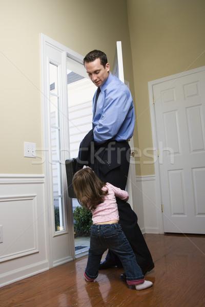 бизнесмен дочь кавказский открытых дверей портфель семьи Сток-фото © iofoto