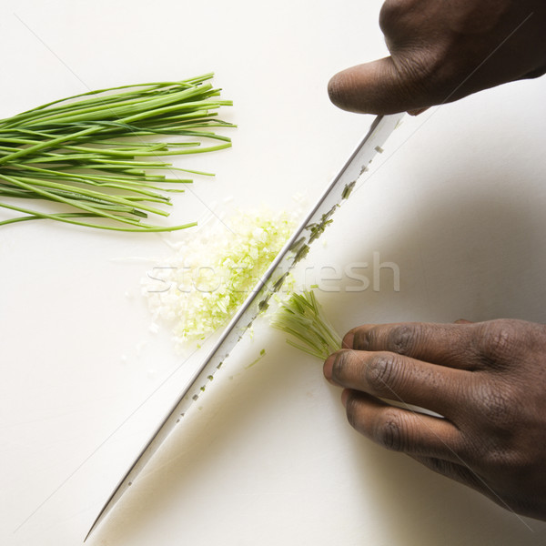 Knife chopping chives. Stock photo © iofoto