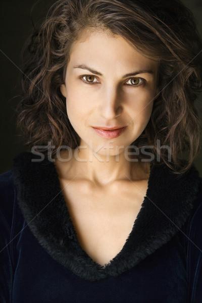 Atrakcyjna kobieta głowie ramię portret dość brunetka Zdjęcia stock © iofoto