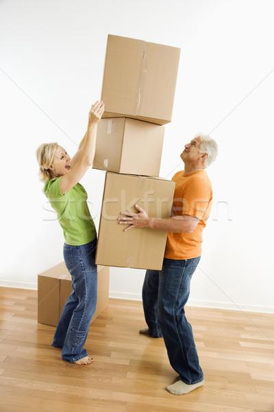 женщину коробки человека Сток-фото © iofoto