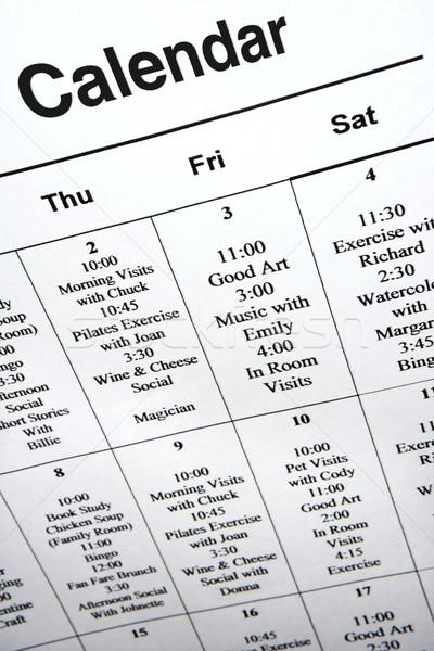 Calendario eventi primo piano comunità centro Foto d'archivio © iofoto