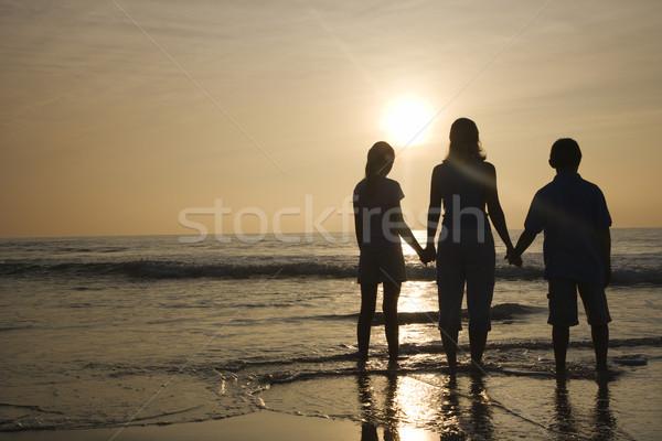 Anya gyerekek tengerpart kaukázusi anya áll Stock fotó © iofoto