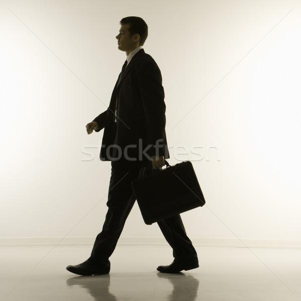 Biznesmen spaceru sylwetka teczki Zdjęcia stock © iofoto