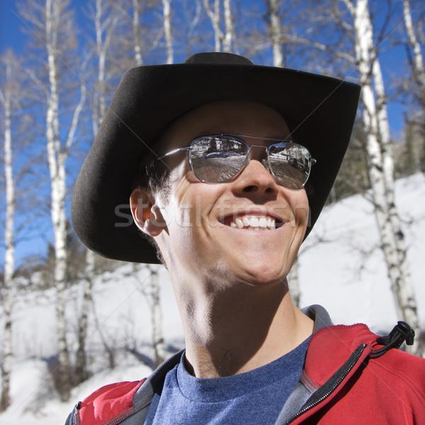 Stock photo: Man wearing cowboy hat.