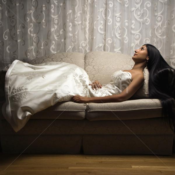 Portret indian bruid liefde zitting Stockfoto © iofoto